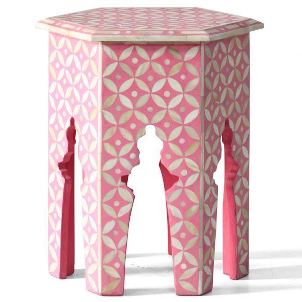 Hexagonal Stool in Pink Color