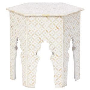 Hexagonal Stool in White Color