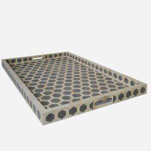 Bone Inlay Hexagonal Tray