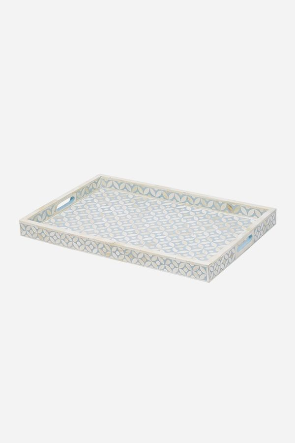 Geometric Star Design Tray in Blue Grey Color