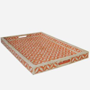 Geometric Star Design Tray in Orange Color
