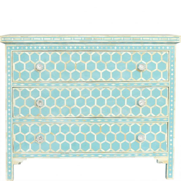 Honeycomb Design Bone Inlay Chest in Turquoise Color