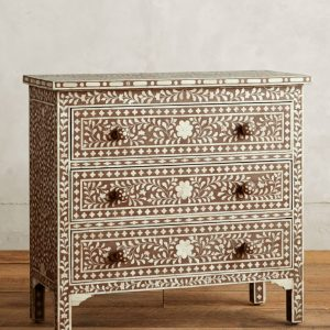 Bone Inlay Chest of 3 Drawers Floral Design in Brown Color