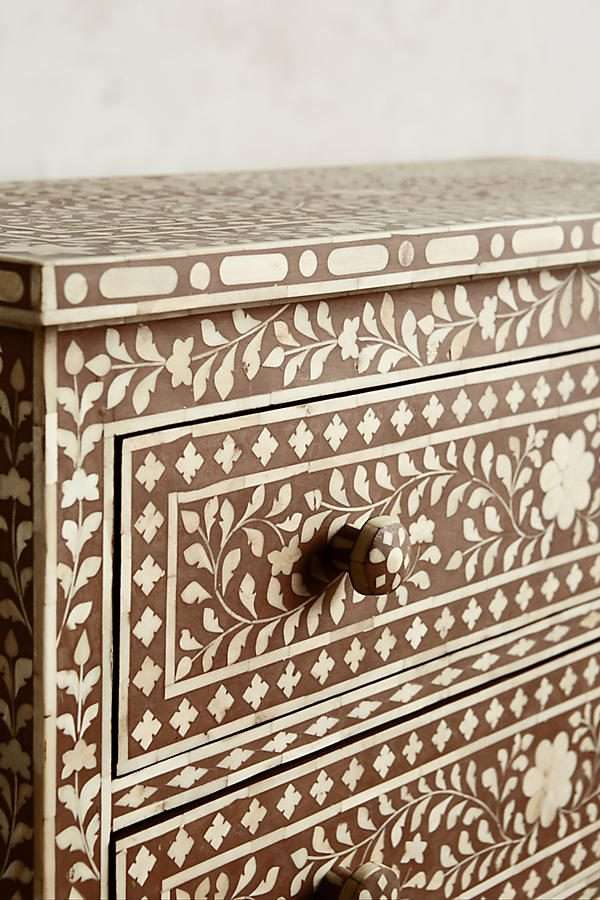 Bone Inlay Chest of 3 Drawers Floral Design in Brown Color,