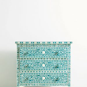 Bone Inlay Chest of 3 Drawers Floral Design in Teal Green Color