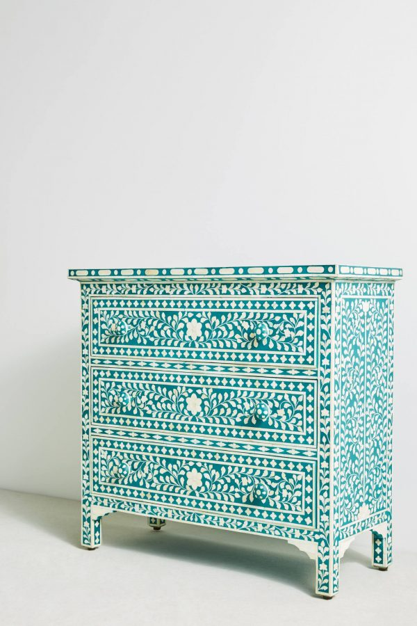 anthropologie Bone Inlay Three Drawers Dresser Turquoise Color