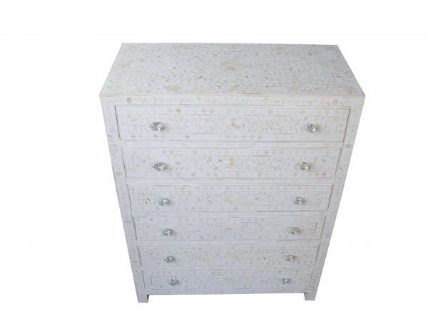 Bone Inlay entryway Buffet and chest white