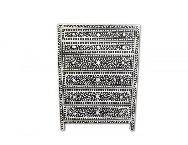 Chest of 6 Drawers Floral Design in Black Color