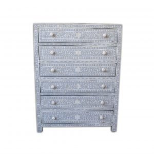 Chest of 6 Drawers Floral Design in Dove Grey Color