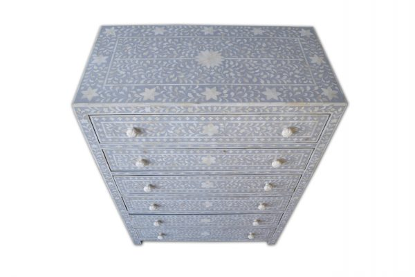 Bone Inlay entryway Buffet and chest 6 drawers Gray