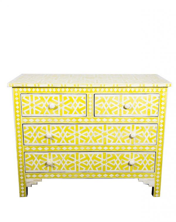 Bone inlay Chest of 4 Drawers Star Geometric Design in Yellow Color