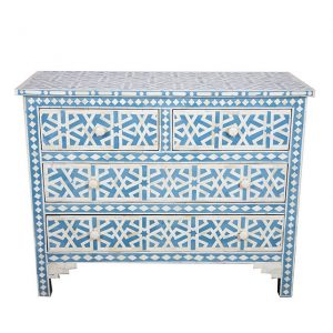 bone inlay buffet Chest of 4 Drawers Star Geometric Design in Blue Color