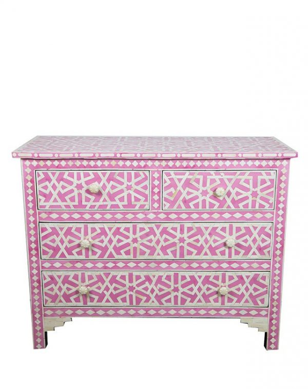 Bone inlay Chest of 4 Drawers Star Geometric Design in Pink Color