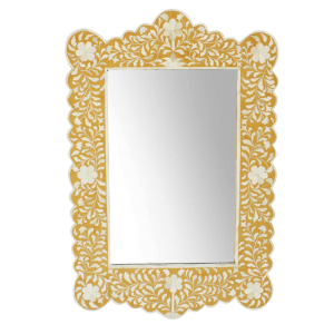 Floral Design Bone Inlay Scalloped Mirror in Yellow Color