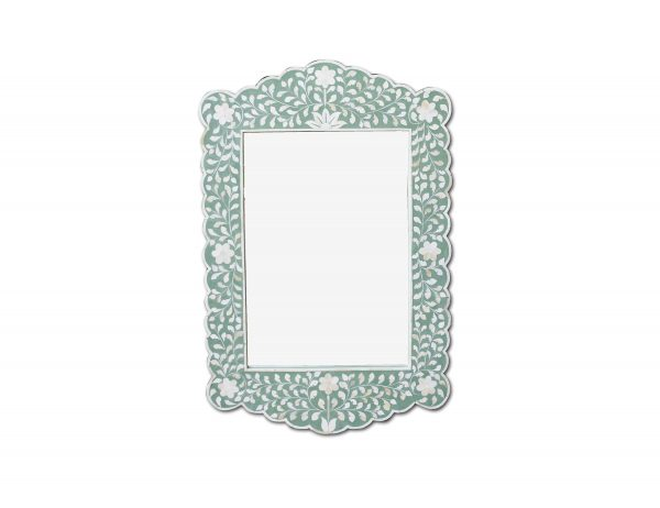 Floral Design Scalloped Mirror in Green Color