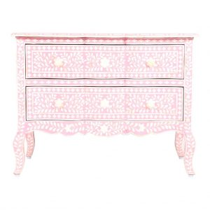 Bone inlay Chest of 2 Drawers Floral Design in Pink Color