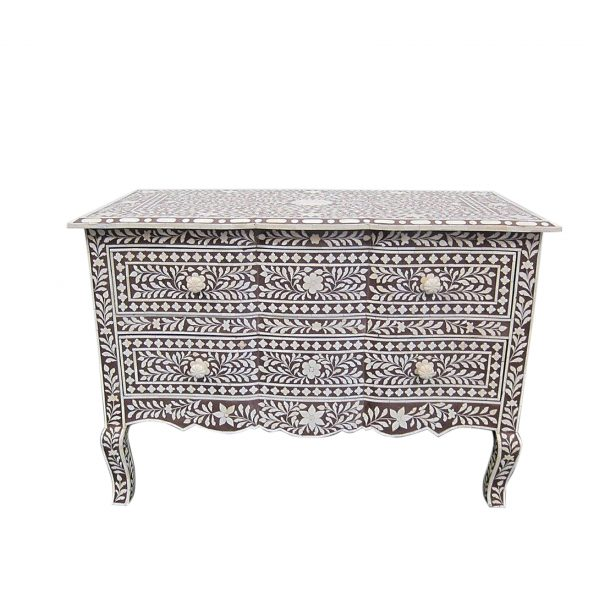 Bone Inlay Chest of 2 Drawers Floral Design in Brown Color