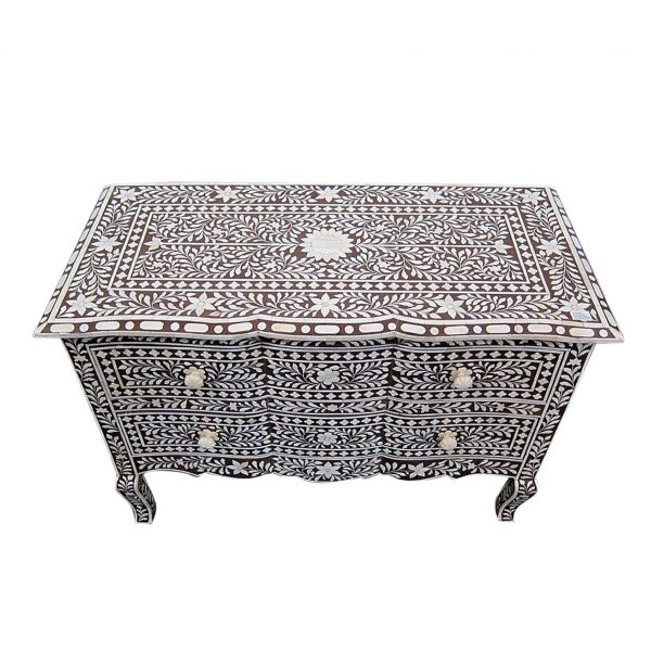 Bone Inlay French Chest of Drawers Brown