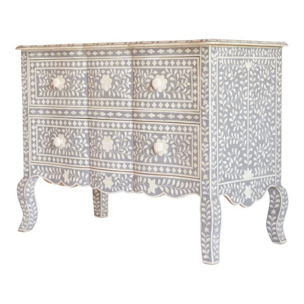French bone inlay chest of drawers Gray color