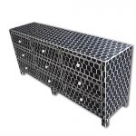 Honeycomb Design Bone Inlay Chest and Sideboard in Black Color