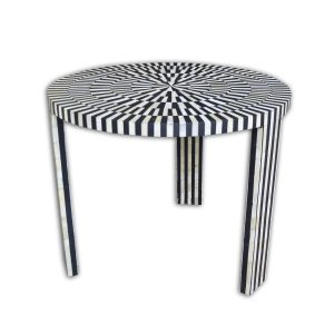 Stripe Design Round Coffee Table in Black Color