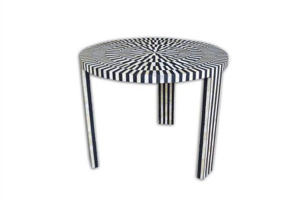 Stripe Design Round Coffee Table in Black Color