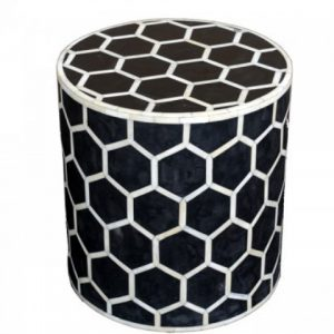 Round Honeycomb Stool in Black Color