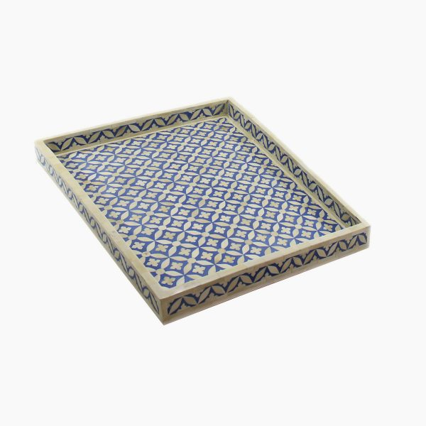 Geometric Star Design Tray in Blue Color