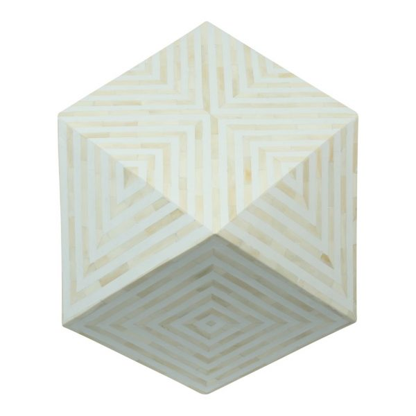 Bone Inlay Octagonal Side Stool in White Color