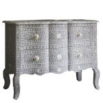 Bone inlay French Chest Of Drawers Gray Color