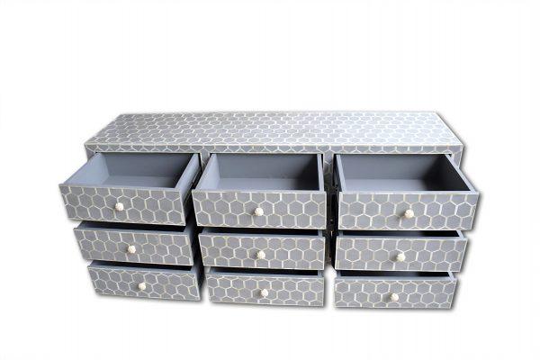 Bone Inlay Sideboard, Bone Inlay Gray Honeycomb Design