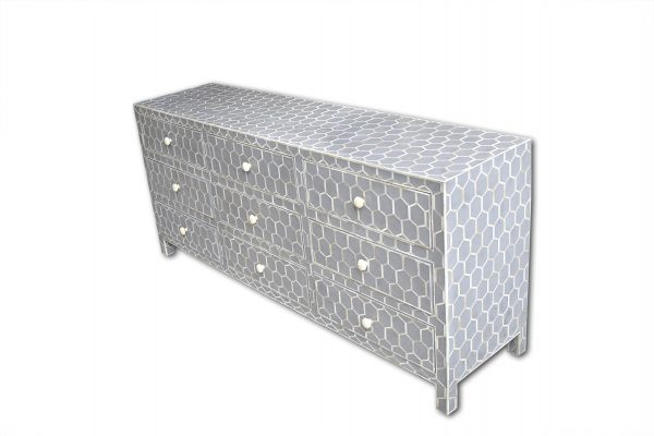 Honeycomb Design Bone Inlay Sideboard Chest in Grey Color