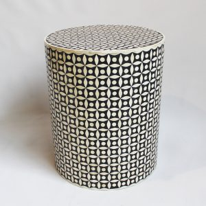 Bone Inlay Round Stool Star Design in Black Color