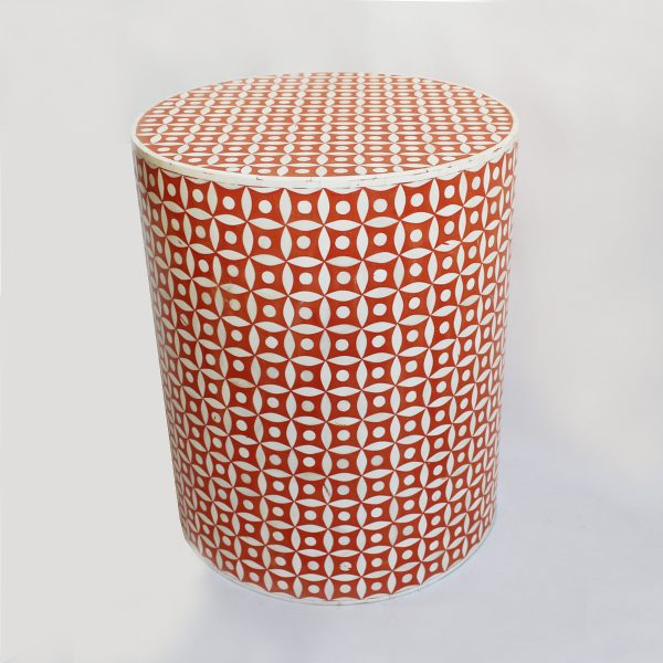 Round Stool Star Design in Orange Color