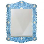 Floral Design Scalloped Mirror in Blue Color