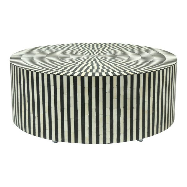 Bone Inlay Round Center Table in Black Color