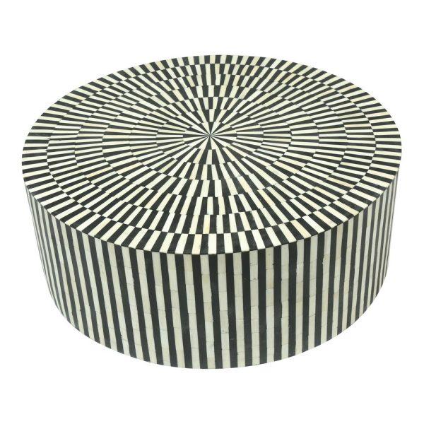 Bone Inlay Round Coffee Table Black