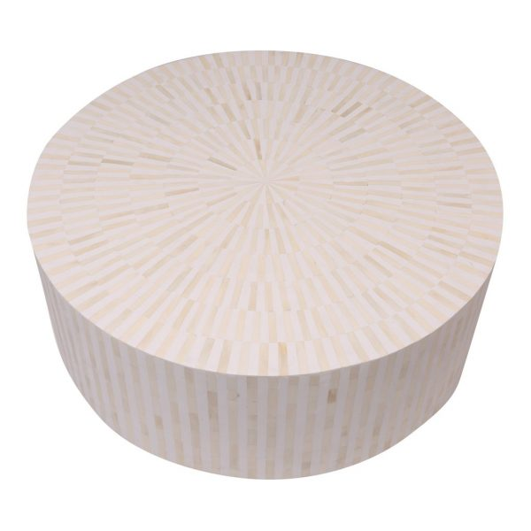 Bone Inlay Round Coffee Table White