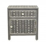 Bone Inlay Large Bedside Table in Black Color