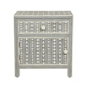 Bone Inlay Bedside Table Gray/Nighstand/Side table