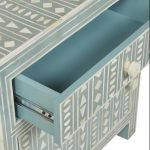 Bone Inlay Large Bedside Table in Peal Green Color
