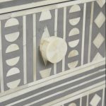 Bone Inlay Bedside Table in Grey Color