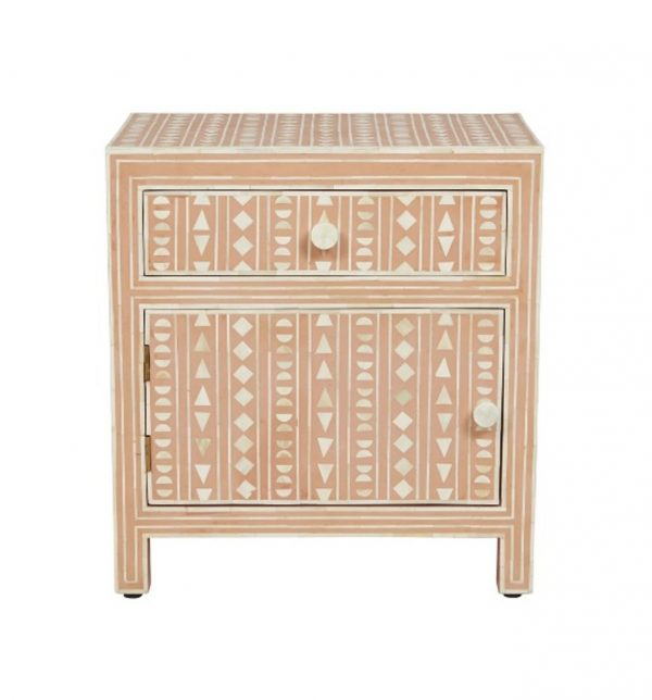 Bone Inlay Large Bedside Table in Pink Color