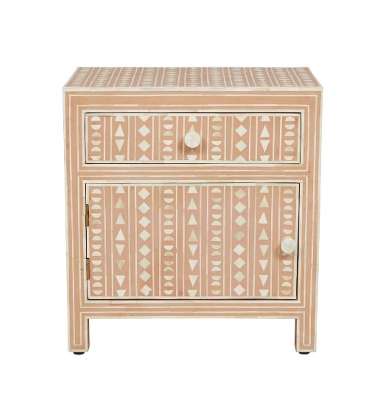 Bone Inlay 1 Drawer 1 Door Tribal Design Large Bedside Table In Pink Color
