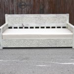 Antique White Painted Carved Daybed