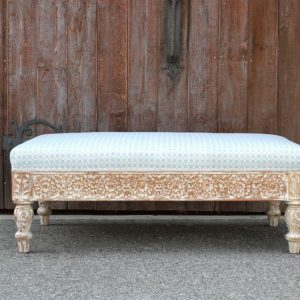 Carved Wood with Whitewash Ottoman
