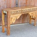 Wooden Floral Design Carved Console Table