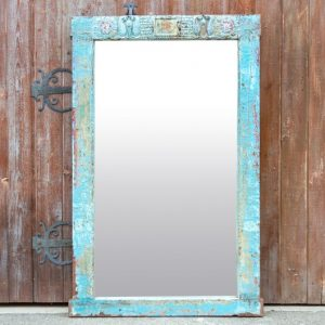Distressed Blue Floor Mirror