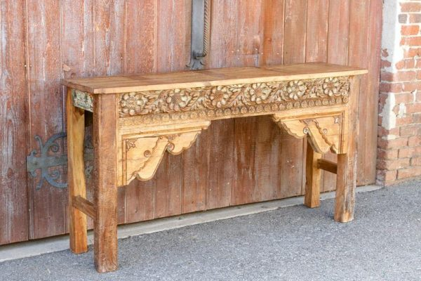 Floral Design Carved Console Table
