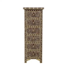 Chest of 6 Drawers Floral Design in Brown Color
